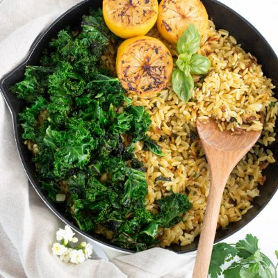 Crispy Orzo with Garlic Kale & Whipped Ricotta