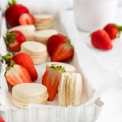 Strawberry Cheesecake French Macarons